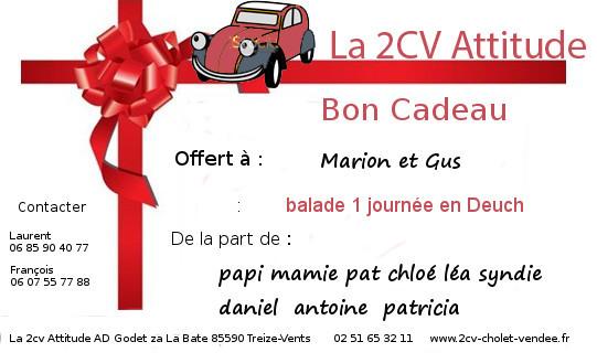 La 2Cv Attitude - Bon Cadeau